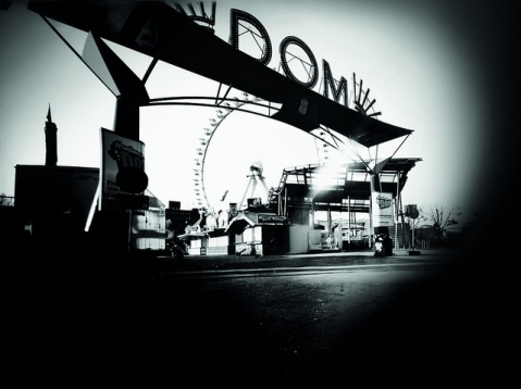 The Hamburg fun fair photographed by a trash dumpster pinhole camera. Photo by Bernd Leguttky, Christoph Blaschke and Mirko Derpmann