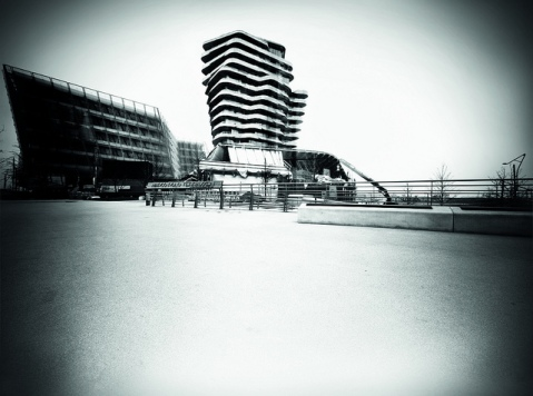 The Marco Polo Tower in Hamburg, Germany, photographed by a trash dumpster pinhole camera. Photo by Michael Pfohlmann, Christoph Blaschke and Mirko Derpmann