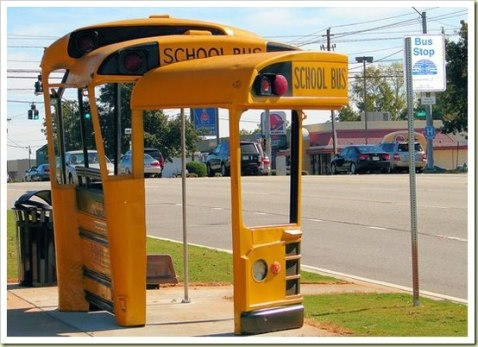 Bus shelter made from a recycled school bus in Athens, GA. By artist Christopher Fennell (Photo Sustainable Cities Collective via Sleeping Bear on Flickr)