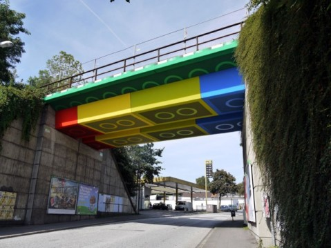 Lego bridge in Wuppertal, Germany by Megx. Photo by Lukas Power and Rolf Dellenbusch via This is Colossal
