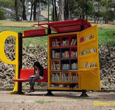 Mini-libraries in Bogota, Colombia (Photo via African Library Project)