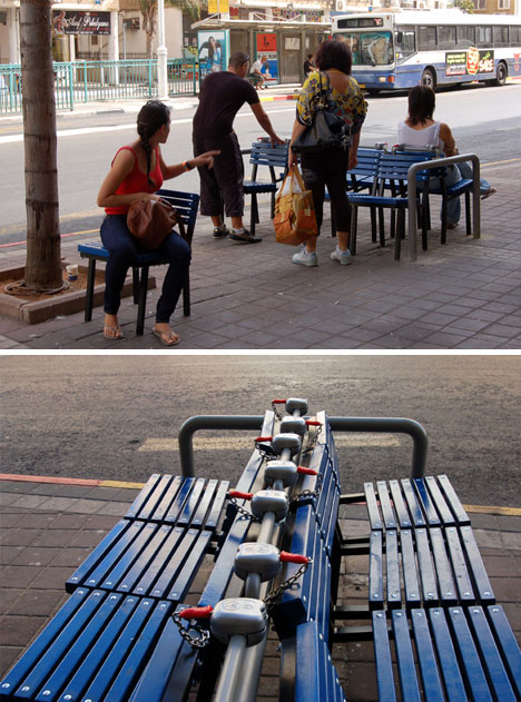A paid public seating experiment in Bat Yam, Israel by Vincent Wittenberg. Photo by Vincent Wittenberg via Web Urbanist.