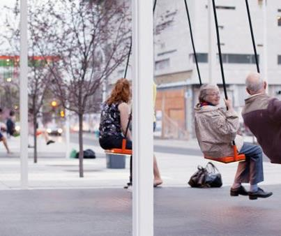 Pop Up Swings in London. Photo via Sustainable Cities Collective