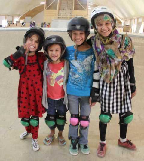 Tamima, Fatima, Gulmina, and Suhaila. Photo via Skateistan