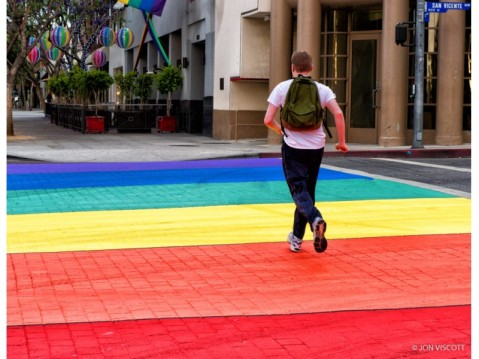 A rainbow crosswalk in West Hollywood, CA. Photo by Jon Viscott via West Hollywood Patch