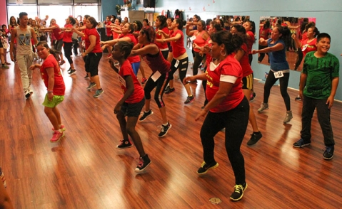 Zumba dancers in South Los Angeles. Photo by Daina Beth Solomon via Intersections South LA